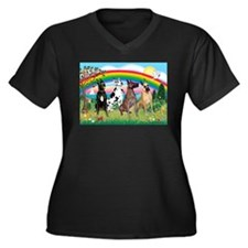 4Greyts-Rainbow1 Women's Plus Size V-Neck Dark T-S