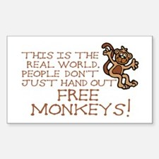 No Free Monkeys Rectangle Decal