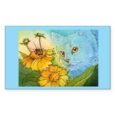 Summer Blue Garden CAT Rectangle Decal