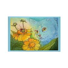 Summer Blue Garden CAT Rectangle Magnet