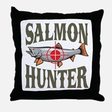 Salmon Hunter Throw Pillow