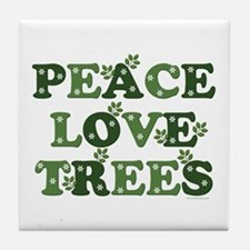 Peace Love Trees Tile Coaster