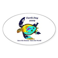Earth Day Sea Turtle Oval Decal