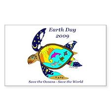 Earth Day Sea Turtle Rectangle Decal