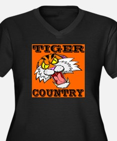 Tiger Country Women's Plus Size V-Neck Dark T-Shir