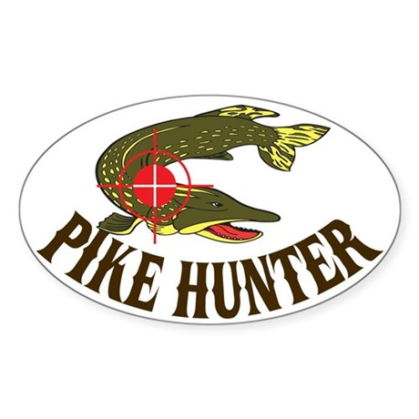 Pike Hunter Oval Sticker