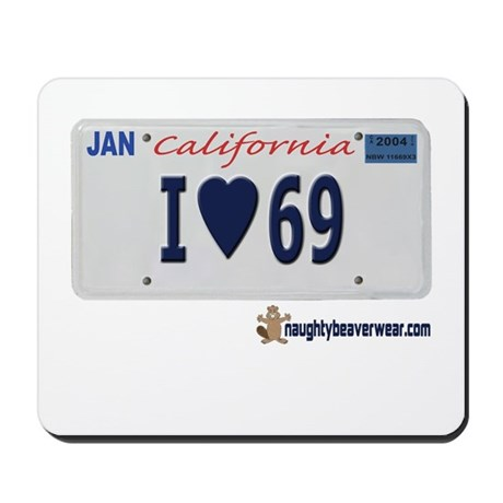 """I """"Heart"""" 69 License Plate Mousepad"""