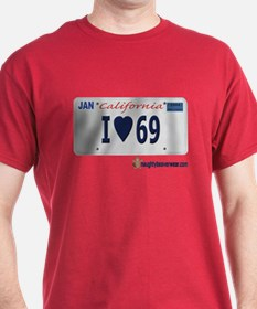 "I ""Heart"" 69 License Plate T-Shirt"
