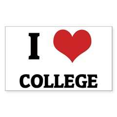 I Love College Rectangle Decal