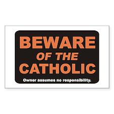 Beware / Catholic Rectangle Decal