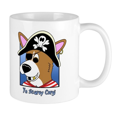 Cartoon Pirate Corgi Mug