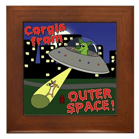 Corgi Alien Abduction Framed Tile