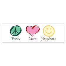 Peace Love Happiness Bumper Car Sticker