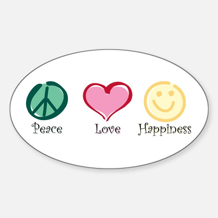 Peace Love Happiness Oval Decal