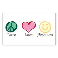 Peace Love Happiness Rectangle Decal