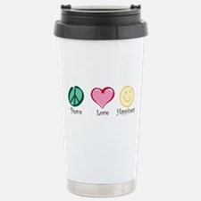 Peace Love Happiness Stainless Steel Travel Mug