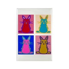 Pop Art Bunnies Rectangle Magnet