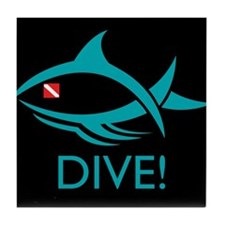 DIVE! Tribal Fish Tile Coaster