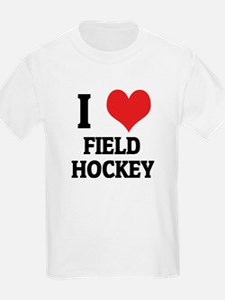 I Love Field Hockey Kids T-Shirt