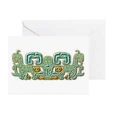 Mayan Jaguar-turquoise Greeting Cards (Pk of 10)