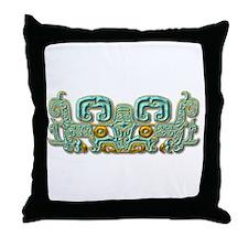 Mayan Jaguar-turquoise Throw Pillow