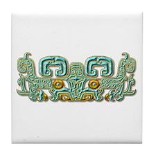 Mayan Jaguar-turquoise Tile Coaster