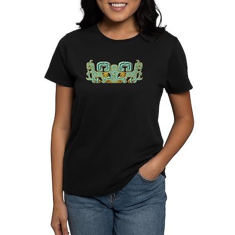 Mayan Jaguar-turquoise Women's Dark T-Shirt