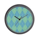 Blue & Green Argyle Wall Clock