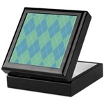 Blue & Green Argyle Keepsake Box