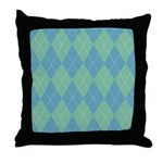 Blue & Green Argyle Throw Pillow