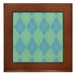 Blue & Green Argyle Framed Tile
