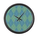 Blue & Green Argyle Large Wall Clock