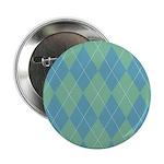 """Blue & Green Argyle 2.25"""" Button"""