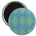 "Blue & Green Argyle 2.25"" Magnet (100 pack)"