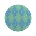 "Blue & Green Argyle 3.5"" Button (100 pack)"