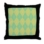 Green & Yellow Argyle Throw Pillow