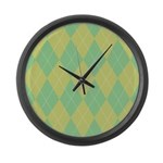 Green & Yellow Argyle Large Wall Clock