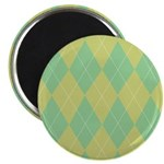"Green & Yellow Argyle 2.25"" Magnet (100 pack)"