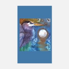 Blue Heron and Bronze Moon Rectangle Decal
