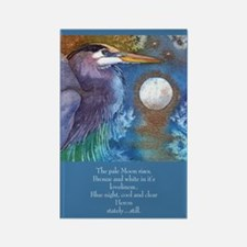 Blue Heron and Bronze Moon Rectangle Magnet