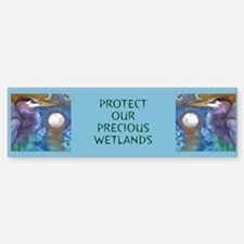 Blue Heron and Bronze Moon Bumper Bumper Bumper Sticker