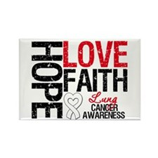 Lung Cancer Faith Rectangle Magnet