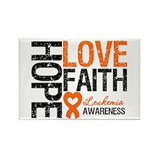 Leukemia HopeLoveFaith Rectangle Magnet (10 pack)
