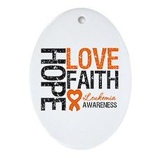 Leukemia HopeLoveFaith Oval Ornament