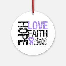 Cancer Hope Love Faith Ornament (Round)