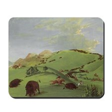 Buffalo Chase by George Catlin Mousepad