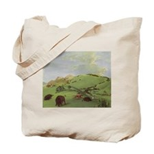 Buffalo Chase by George Catlin Tote Bag