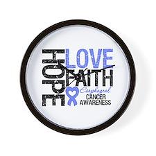 Esophageal Cancer Faith Wall Clock