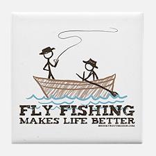 Fly Fishing Life Tile Coaster