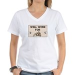 WILL WORK FOR PIZZA Women's V-Neck T-Shirt